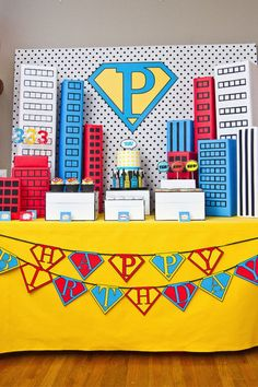 Bookmark this dessert table as inspo for your super hero party.
