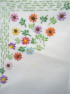 modflowers: embroidered vintage linen
