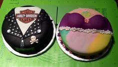 Biker and hippy anniversary cakes