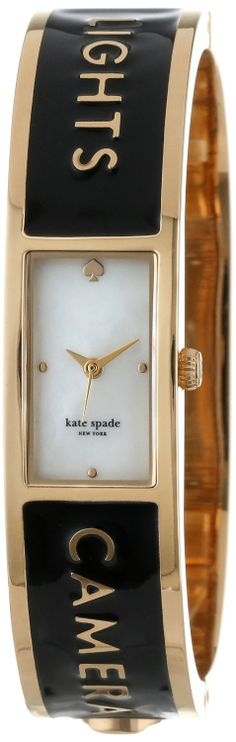 "kate spade new york Women's ""Lights Camera Action"" Carousel Gold-Plated Stainless Steel Watch Kate Spade Watch, Lights Camera Action, Square Watch, Stainless Steel Watch, Carousel, Bangles, Watches, My Style, York"