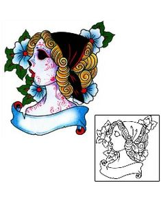 Day of the Dead Tattoos BKF-01078 Created by Captain Black
