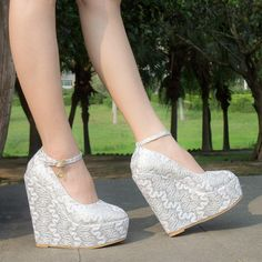 White Thick Platform Ultra High Heels Wedges 15cm Wedding Shoes Bridal Shoes