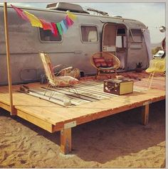 Airstream Tiny House With Deck Hot Tub Fire Pit And