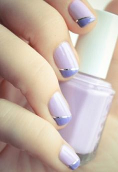 Two color colour nail art: lilac and violet purple with silver line striper. Diagonal French manicure design. #spring #Easter
