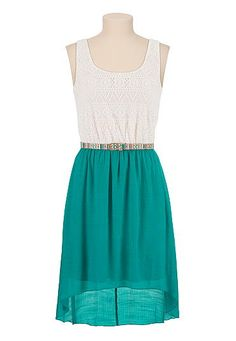 Belted lace top gauze skirt high-low dress (original price, $39) available at #Maurices