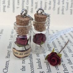 Tale As Old As Time, Red Rose in a Bottle Necklace / Pendant / Bookmark / Earrings / Decoration / Keyring inspired by Beauty and the Beast by EnchantedBottleCraft on Etsy Magic Bottles, Mini Glass Bottles, Small Bottles, Bottle Jewelry, Bottle Charms, Bottle Necklace, Diy Bottle, Bottle Art, Garrafa Diy
