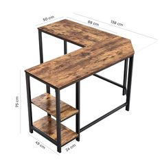 Williston Forge Enprise L-Shape Desk , Home Office Space, Home Office Design, Desk Office, L Shaped Corner Desk, Small L Shaped Desk, Corner Desk Diy, Rustic Tabletop, Industrial Desk, Rustic Industrial Furniture
