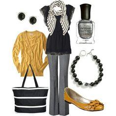 Grey slacks, black top, yellow cardi, yellow shoes