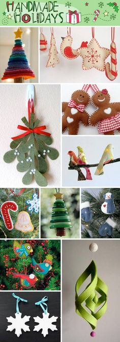 Hand Sewn Ornaments. Love the felt mistletoe.