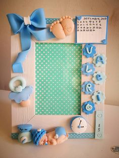 Photo Frames For Kids, Baby Shower Gifts, Baby Gifts, Kids Clay, Polymer Clay Kawaii, Naming Ceremony, Clay Baby, Kids Party Decorations, Pasta Flexible