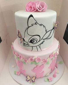 Bambi Cake - Birthday - first birthday cake-Erster Geburtstagskuchen 1st Birthday Cake For Girls, Baby Birthday Cakes, Girl Birthday Themes, Birthday Cake Disney, Birthday Ideas, 17th Birthday, Baby Cakes, Baby Shower Cakes, Disney Cakes