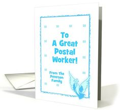 Congratulations-Postal Worker-Retirement-Pigeon-Mail Custom Text card. Thank you customer in N. Dakota!