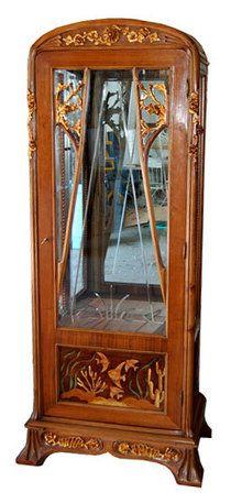 French Art Nouveau Marjorelle Curio Cabinet, 19th century