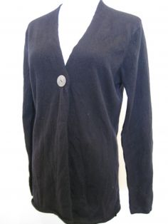 In Cashmere 100% Cashmere Black Long Sleeve Sweater Cardigan Top $99.99