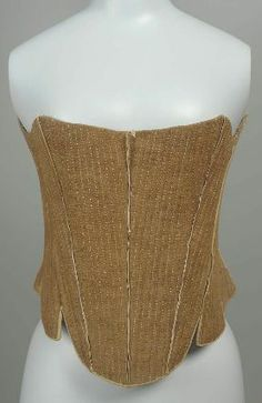 American Stays, late 18th Century. Cotton plain weave, linen plain weave lining and tape, leather, linen thread stitching, probably baleen boning. MFA Boston 53.941