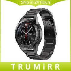 22ミリメートルのステンレス鋼時計バンドクイックリリースストラップシステム用samsung gear s3クラシックフロンティア手首ベルトリンクブレスレット黒銀