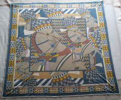 Authentic Hermes 90cm Silk Jersey Scarf Carre Chevaux DE Karnak   eBay
