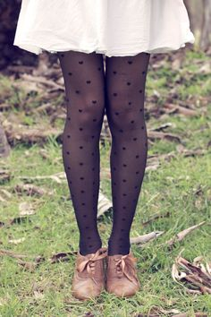 vintage shoes - stockings- polka dots - skirt - fall