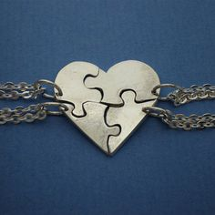Heart Shaped Jigsaw Puzzle Necklaces - Personalized your Name or Initial - A piece for me and each of my children. I LOVE this!