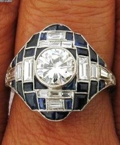 Magnificent Antique Art Deco 1C Diamond Sapphires Platinum Ring by mariana