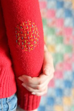 Woven Embroidery Faux Darning Elbow Patch - Tutorial
