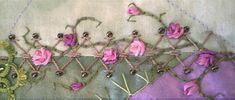 Embroidery Roses trellis and rose vine Floral Embroidery Patterns, Rose Embroidery, Embroidery Fabric, Fabric Art, Embroidery Stitches, Embroidery Designs, Crazy Quilt Stitches, Crazy Quilting, Rose Vines