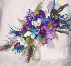 Peacock Wedding Bouquet with Gold Accents  by BESTsilkWeddings, $175.00