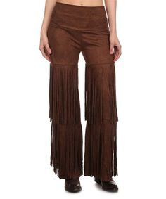 Loving this Brown Fringe Palazzo Pants - Plus Too on #zulily! #zulilyfinds