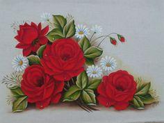 Pintura em tecido rosas vermelhas