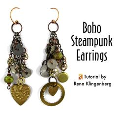 Boho Steampunk Earrings - tutorial by Rena Klingenberg-In this tutorial, we'll combine Boho's gypsy romance with Steampunk's gears and grunge.