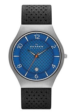 Skagen 'Grenen' Titanium Leather Strap Watch, 41mm
