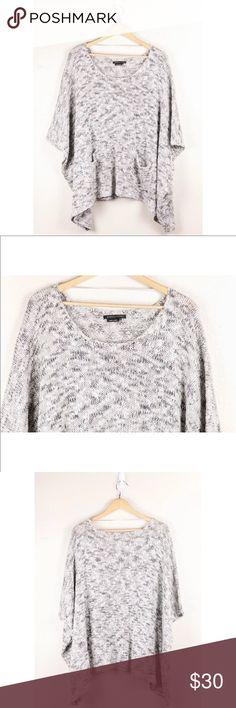 BCBGMAXAZRIA Gray White Pullover Poncho Sweater BCBGMAXAZRIA Gray White Pullover Thin Knit Dolman Sleeve Poncho Sweater Sz L/XL  Width: 55  Length: 26 BCBGMaxAzria Sweaters Shrugs & Ponchos