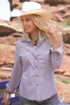 Blue Stripe Shirt by CRUEL GIRL - Plain weave stripe, raw edged yokes & hem, heavy topstitching, pocket embroidery, red pearl snaps #cowgirl #westernfashion #fashion #cruelgirl
