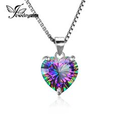 Look what I found on AliExpress JewelryPalace 4.35ct Genuine Rainbow Fire Mystic Topaz Heart Pendant Solid 925 Sterling Silver Vintage Jewelry Without a Chain