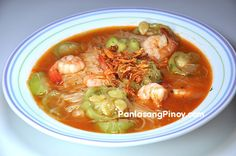 Misua with patola and shrimp is a soothing flour noodle soup recipe that has a close resemblance to the Filipino albondigas, except that this dish uses shrimp instead of ground pork.