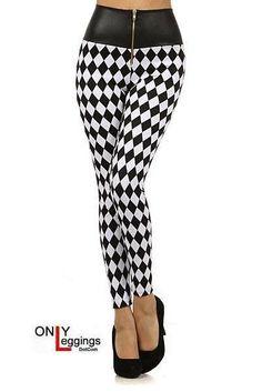 Harlequin High Leather Waist Leggings - $42.00 at OnlyLeggings.com - #onlyleggings