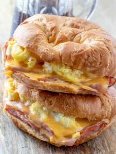 Flaky croissants are filled with ham, eggs and cheese and baked until golden and melty making these Easy Croissant Breakfast Sandwiches the prefect breakfast. How To Make Breakfast, Breakfast Bake, Perfect Breakfast, Breakfast Dishes, Overnight Breakfast, Savory Breakfast, Breakfast Casserole, Croissant Breakfast Sandwich, Breakfast Sandwich Recipes