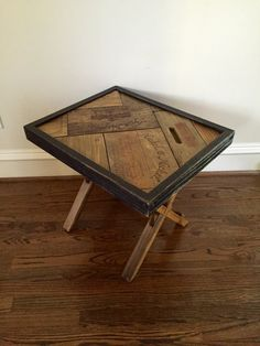 Wine Wood Accent Table /  Wine Decor  Rustic Wood Leg