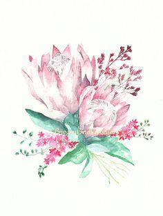 Protea Bouquet, Protea Flower, Protea Art, Flower Bouquets, Flower Prints, Flower Art, Watercolor Paintings, Original Paintings, Australian Flowers