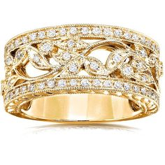 Annello 14k Yellow Gold 1/4ct TDW Diamond Floral Vintage Art Nouveau... (20 780 UAH) ❤ liked on Polyvore featuring jewelry, rings, yellow, 14k gold ring, vintage gold rings, vintage diamond rings, diamond band ring and wide band rings