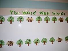 """""""The Word Wall Woods"""" Bulletin Board...click on picture to print the Vowel Owls and the Tree Consonants"""