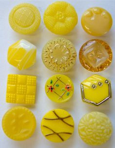 12 x 14mm Vintage Yellow Glass Buttons, Assorted Designs