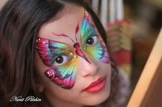Stunning one stroke Butterfly face paint by Nurit Pilchin. Simply wow! #facepaint #facepainting face painting ideas for kids