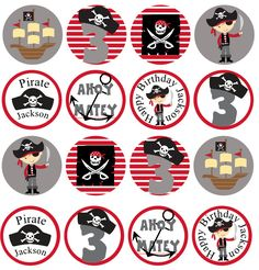 PERSONALIZED Pirate Printable Cupcake by owlalwaysloveuprints