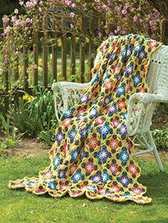 Sunny Day Flowers Throw By Diane Poellot - Free Crochet Pattern - See http://www.crochet-world.com/newsletters/images/2015/40201315-07/SunnyDayFlowers.pdf For PDF Pattern - (crochet-world)