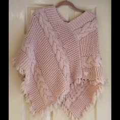 🌟🌟. SALE!!  Chunky Lambswool Pink Poncho Beautiful soft pink poncho that looks hand knit. Purchased in a lovely boutique in Toronto. Ponchos are really big this season, so don't miss out! tna Sweaters Shrugs & Ponchos