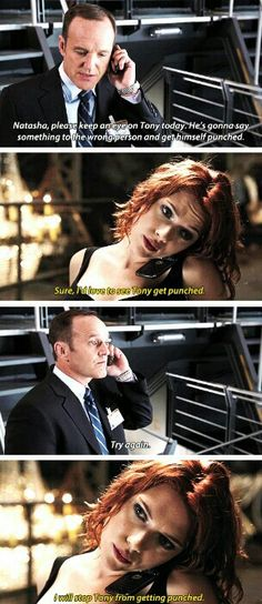 This is from Agents of Shield actually, they just stole it and used it for this scene instead. It was between Jemma Simmons and Coulson.