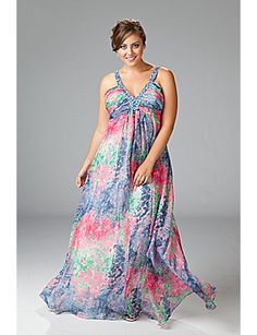 "☀ To quote myself on seeing this pin... ""Oh. My. Gods."" oh, yea, I WANT this dress. ☀~~~""A gorgeous chiffon floral print gown: perfect for spring & summer wedding guests."""