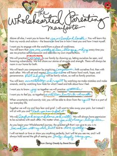 Parenting Manifesto by Brene Brown. This is how I will raise my children.