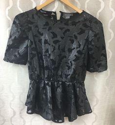 Gracia Mesh Faux Leather Appliqué Black Dressy Peplum Top Womens Size Medium #Gracia #Peplum #EveningOccasion